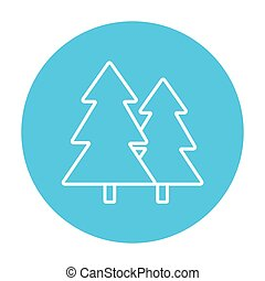 Pine trees line icon - Pine trees line icon for web, mobile...