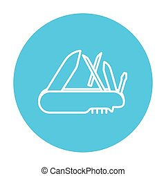 Multipurpose knife line icon - Multipurpose knife line icon...
