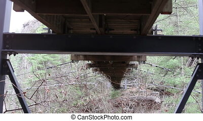 Wooden Suspension bridge underside