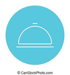 Restaurant cloche line icon - Restaurant cloche line icon...