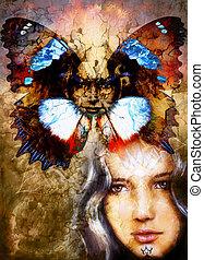Beautiful Painting Goddess Woman with ornamental mandala and...