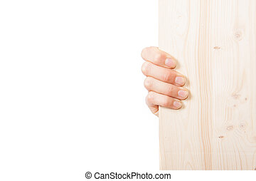female hands holding a wooden Board