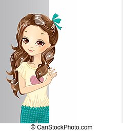Cute Romatic Girl Hold Banner - Cute romatic girl hold a big...