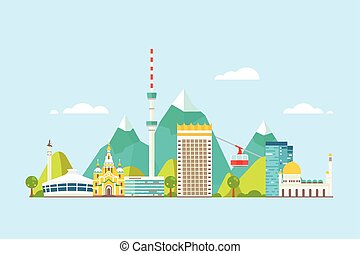 Almaty abstract skyline - Vector graphics, flat city...
