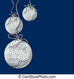Christmas Silver Balls on Navy Blue