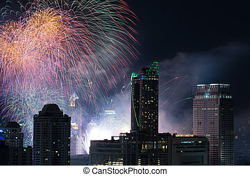 Fireworks at New Year countdown eve - Bangkok, Thailand -...