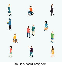 Vector people. Set of woman and man. - 3d isometric design...