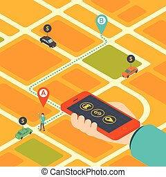 Concept of mobile app for booking taxi - 3d isometric design...