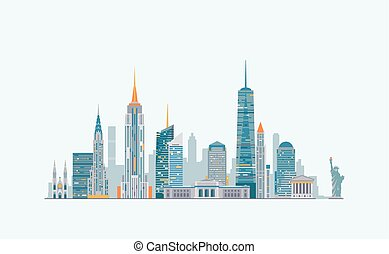 New York abstract skyline - Vector graphics, flat city...