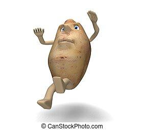 potato slips - illustration in 3d of potato that slips