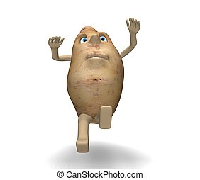potato slips - 3d illustration of potato that slips