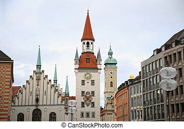 Old Town Hall Altes Rathaus building at Marienplatz in...