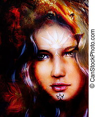 painting mighty lion head on ornamental background and...
