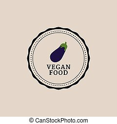 vegan food label - abstract organic food label on a light...
