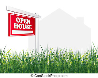 Real Estate Sign - Open House on white background with grass...