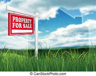 Real Estate Sign - Property For Sale. 2D artwork. Computer...