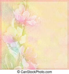 Floral greeting card with peach flowers on grunge stained...