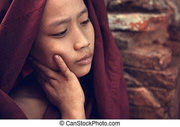 Buddhist novice monk portrait - Portrait of young novice...