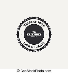 Organic food label - abstract organic food label on a white...
