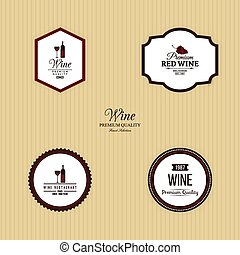 Delicious Wine Labels - Abstract Wine labels on a yellow...