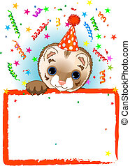 Polecat Birthday - Adorable Polecat Wearing A Party Hat,...