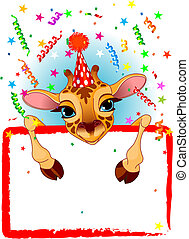 Baby Giraffe Birthday - Adorable Baby Giraffe Wearing A...