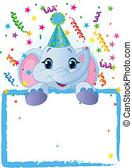 Baby Elephant Birthday - Adorable Baby Elephant Wearing A...