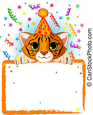 Baby Tiger Birthday - Adorable Baby Tiger Wearing A Party...