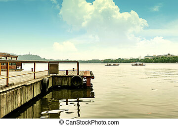 Hangzhou, China marina - China Hangzhou West Lake scenery,...