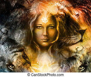 painting mighty lion and tiger head, and mystic woman with...