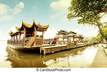 China Hangzhou West Lake - Traditional ship at the Xihu...