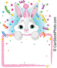 Baby Bunny Birthday - Adorable Baby Bunny Wearing A Party...