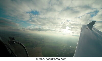 View from plane cockpit to sky