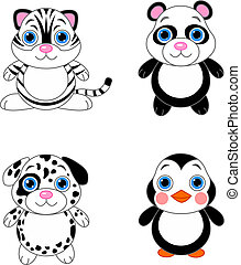 Cute animals set 02 - Cute funny baby animals set. Black and...
