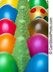 closeup, colorido, Páscoa, ovos, ovo, caixa