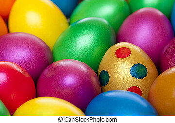 Closeup of colourful painted Easter eggs