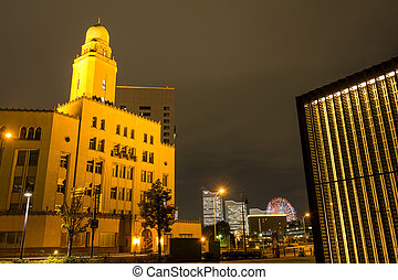 Historical building of Yokohama customs at night