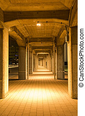 Under the overpass that exposed lighting in Yokohama at...