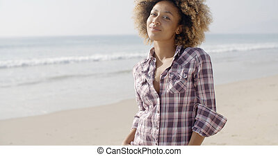 Beautiful Young Woman On A Beach