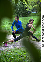 Young couple workout in the park