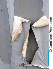 Torn ripped metal background - Torn ripped gray metal...