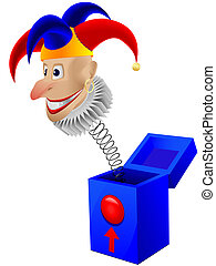 Childrens toy the clown - a joker in a box with a spring in...