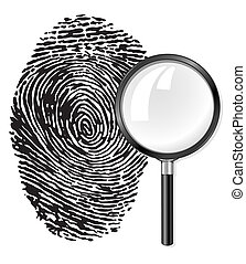 black fingerprint and magnifying glass loupe illustration,...