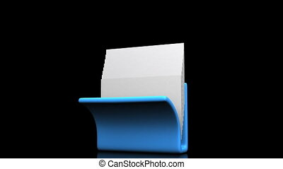 Folder And Documents - Blue Folder And Documents On Black...