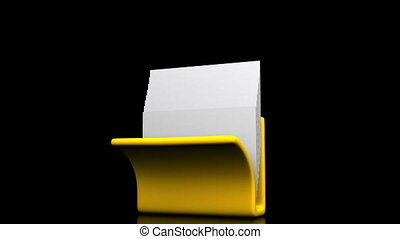 Folder And Documents - Yellow Folder And Documents On Black...