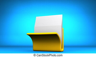 Folder And Documents - Yellow Folder And Documents On Blue...