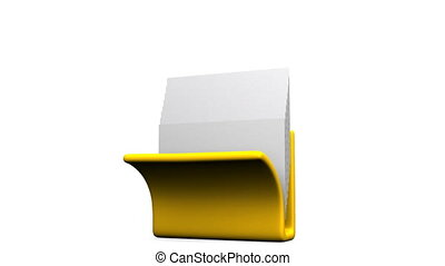 Folder And Documents - Yellow Folder And Documents On White...