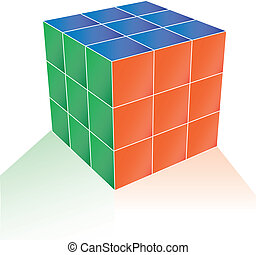 cube puzzle - 3d illustration of cube puzzle vector...