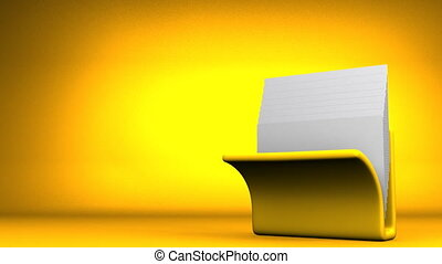 Folder And Documents - Yellow Folder And Documents On Yellow...