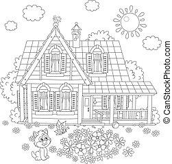 Village house - Vector black and white illustration of a...